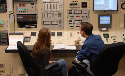 Nuclear engineering students in Burlington Labs. PHOTO BY ROGER WINSTEAD